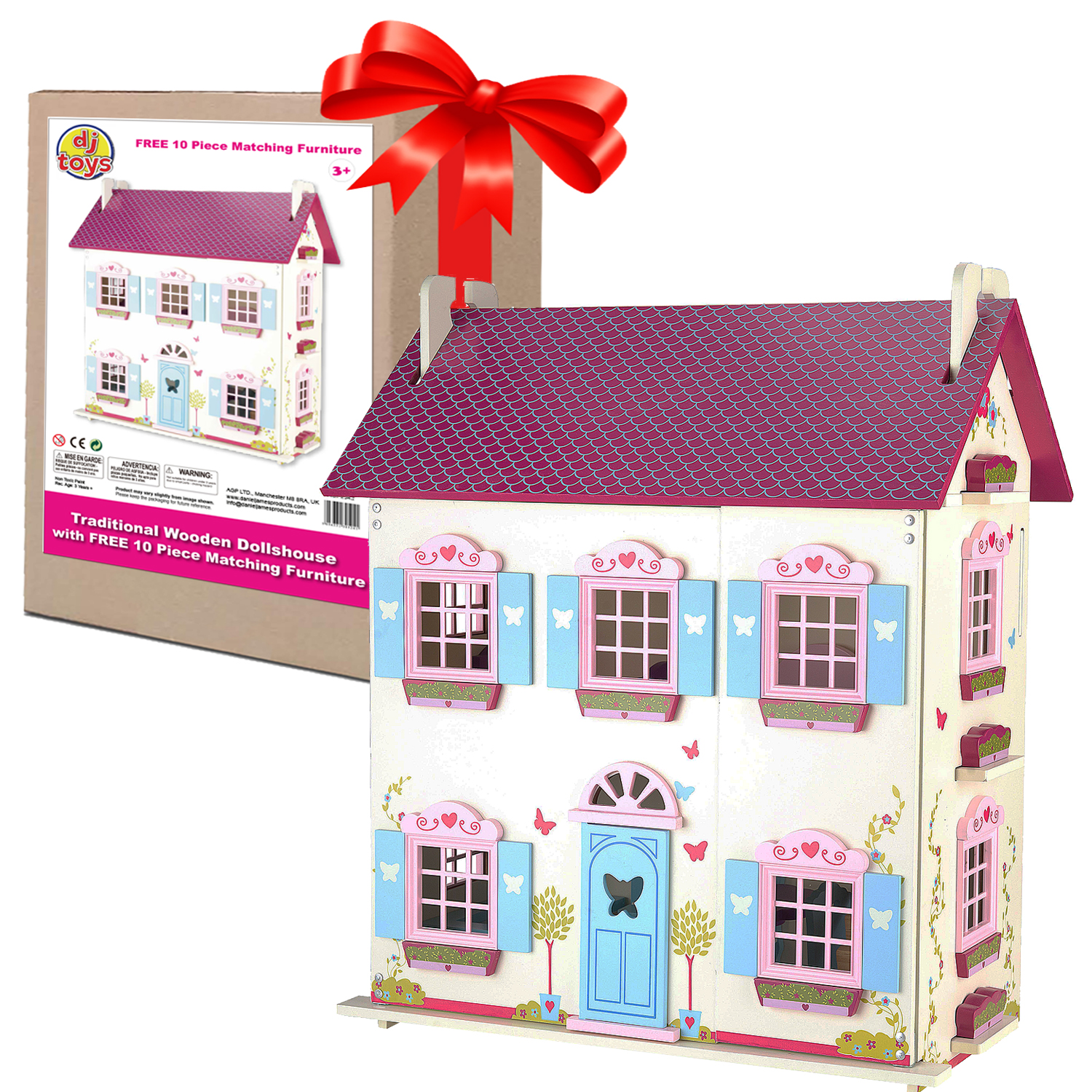 Guaranteed4Less Large Kids Wooden Dolls House Traditional Toy Play Set 10 Piece Wood Furniture