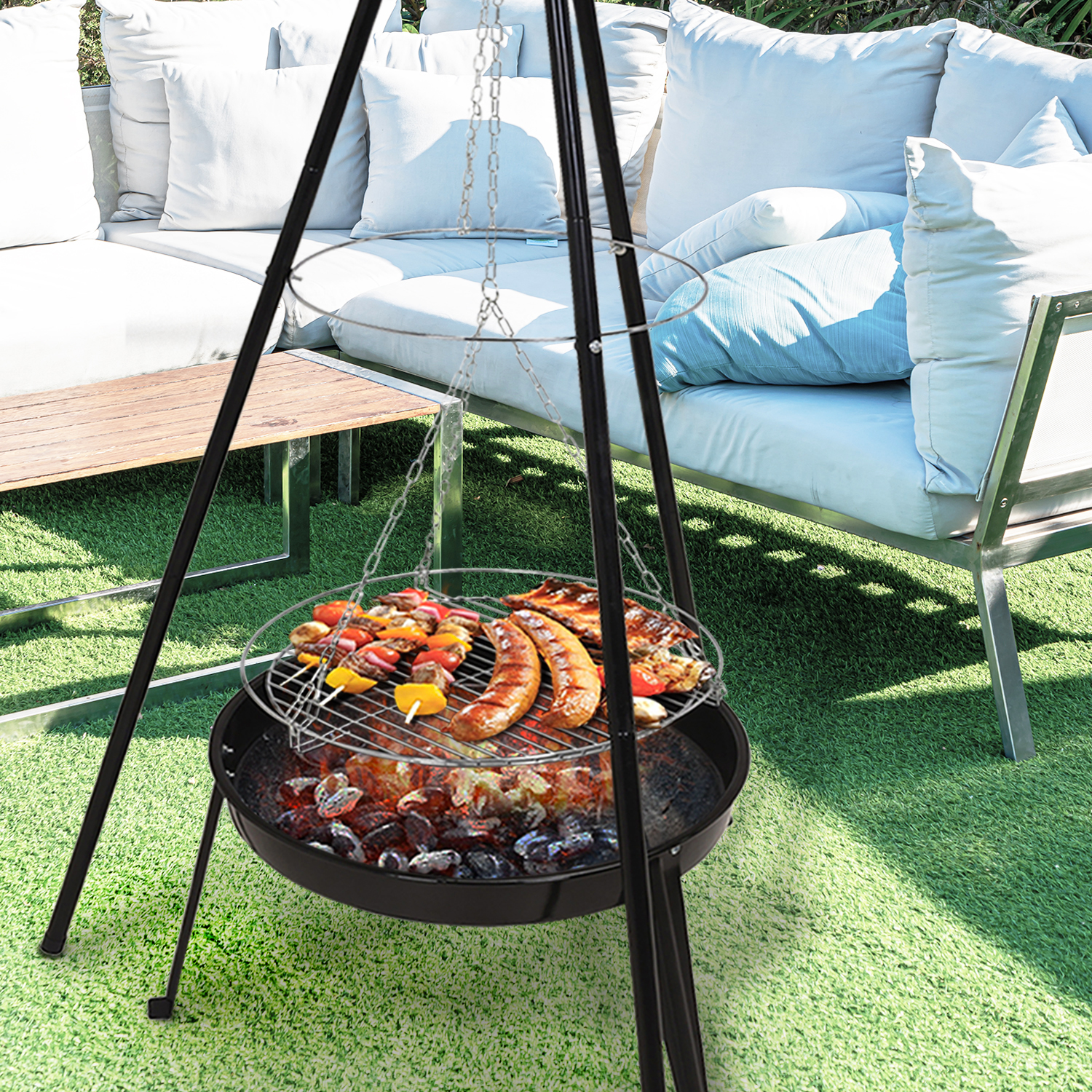 Image of: Hanging Bbq Grill Firepit Campfire Outdoor Fire Cooking Patio Garden Pit Camping Ebay