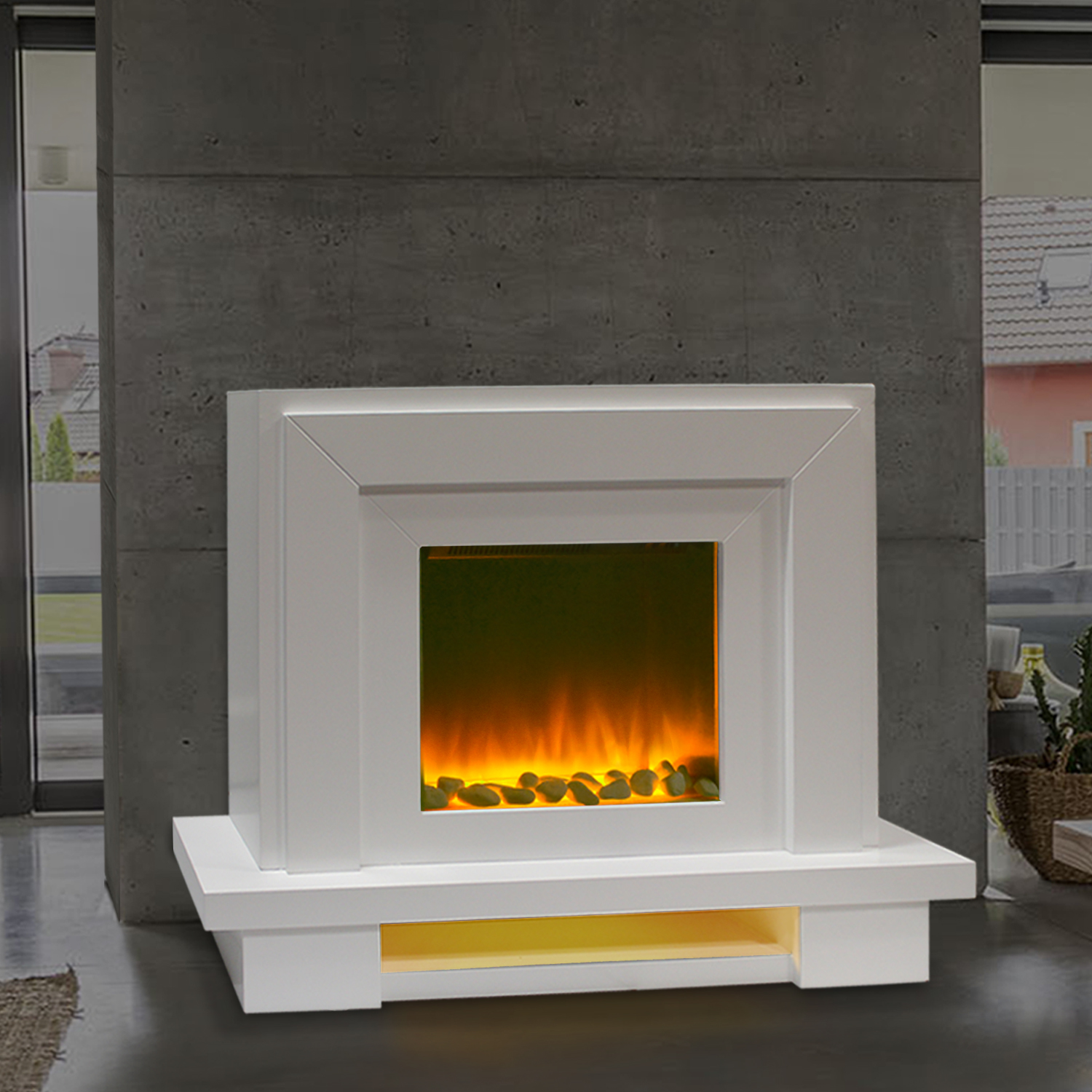 Electric Fire Fireplace Free Standing Modern Surround