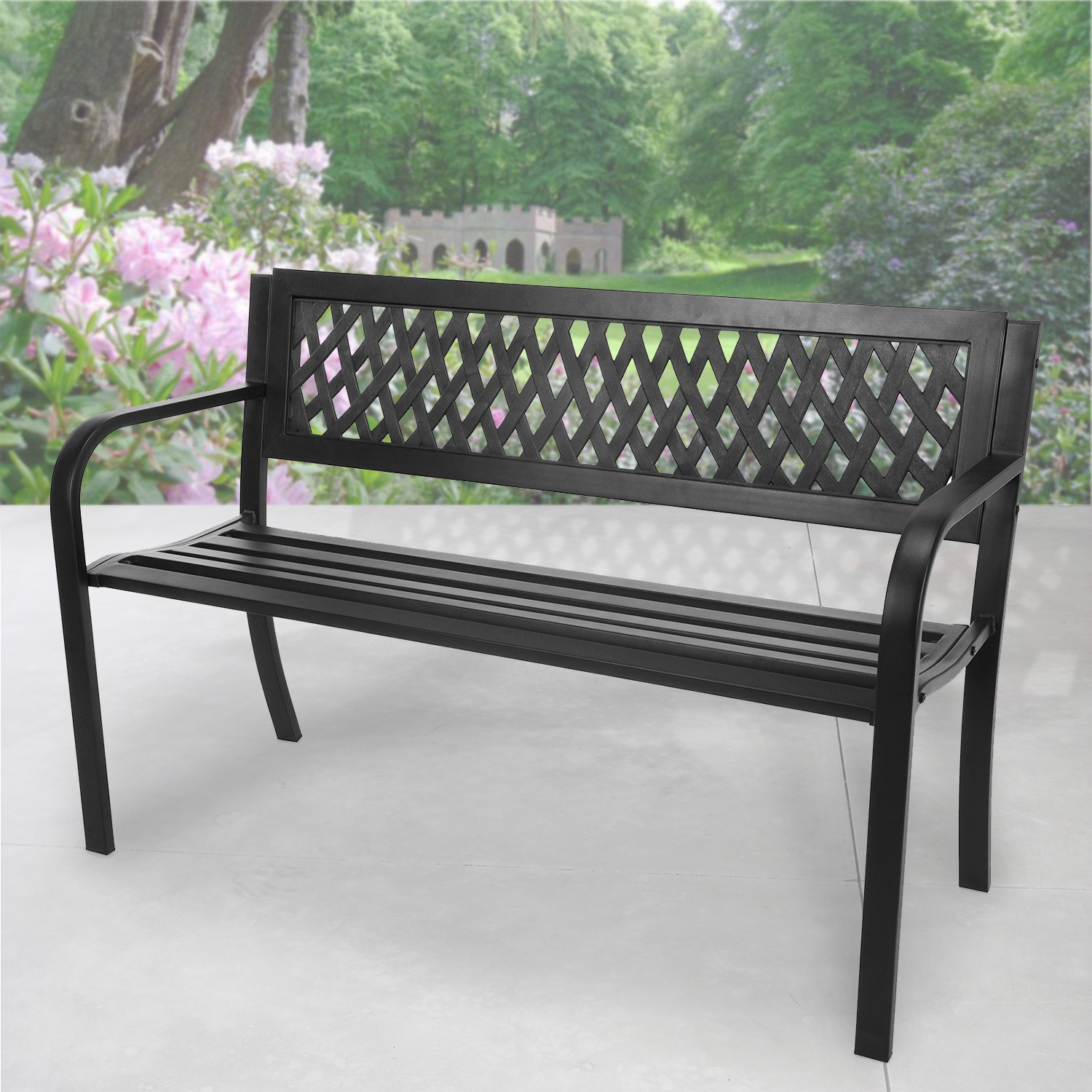 Enjoyable Details About 3 Seater Garden Bench Steel Outdoor Patio Metal Seat Park Seating Furniture Home Beatyapartments Chair Design Images Beatyapartmentscom