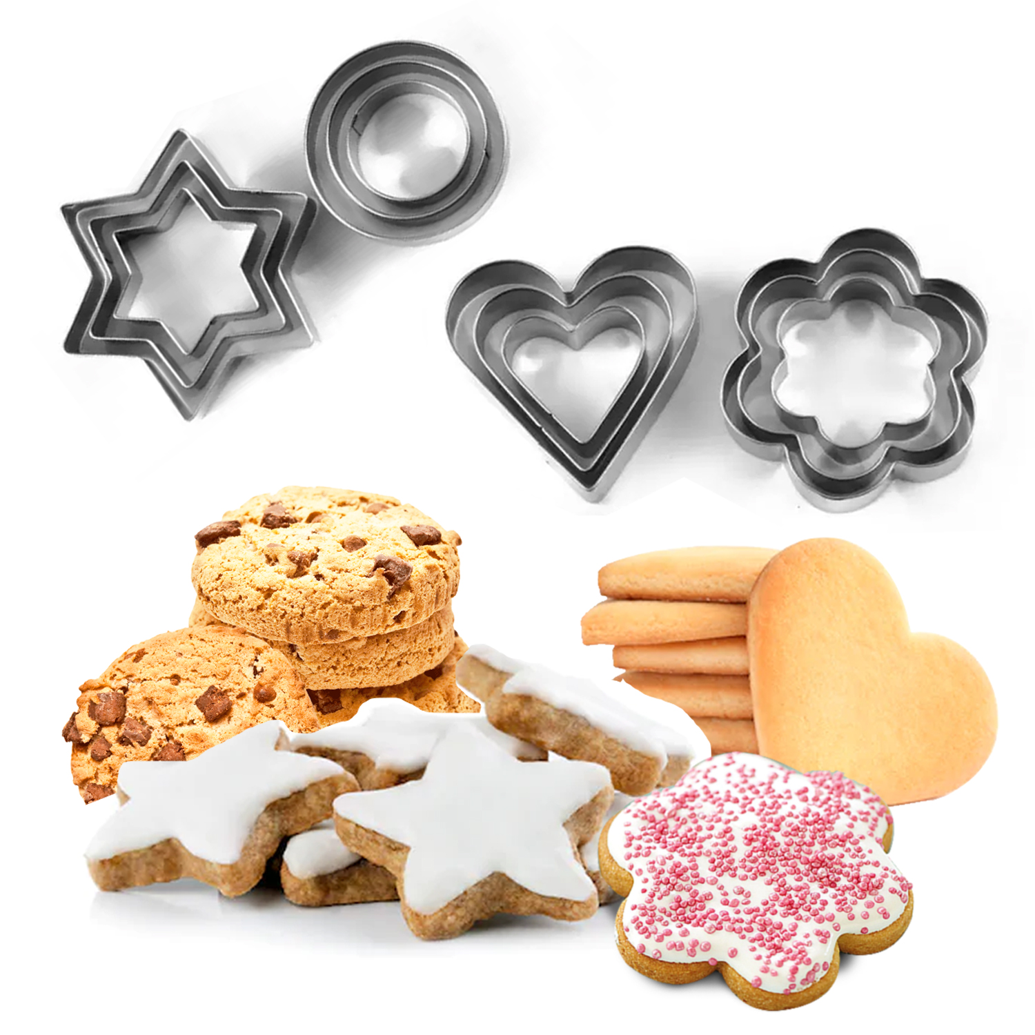 5 Pcs Star Biscuit Cookie Cutters Cake Mould Decorating Pastry Heart Flower UK