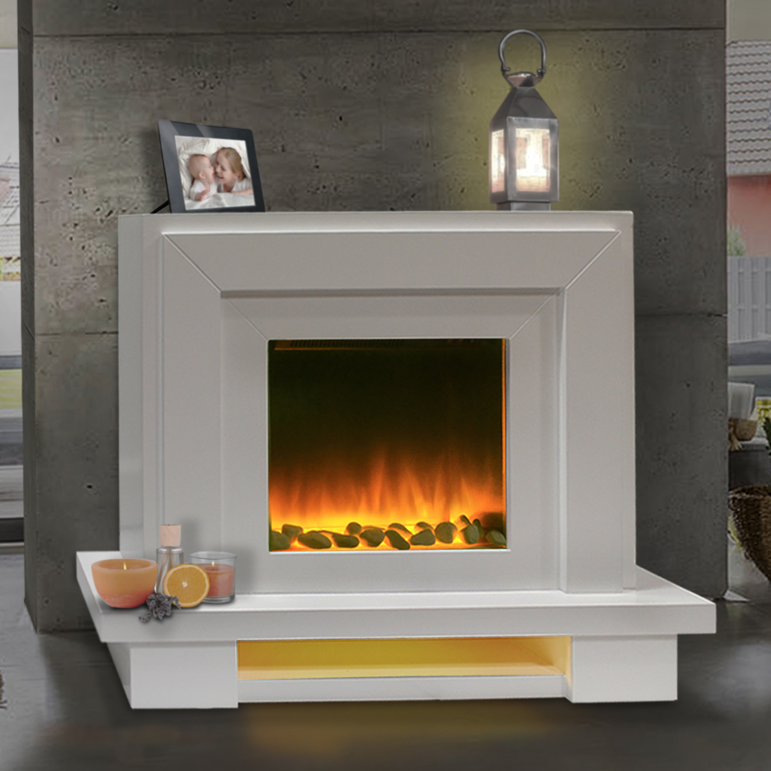Contemporary Free Standing Electric Fires: Electric Fire Fireplace Free Standing Modern Surround
