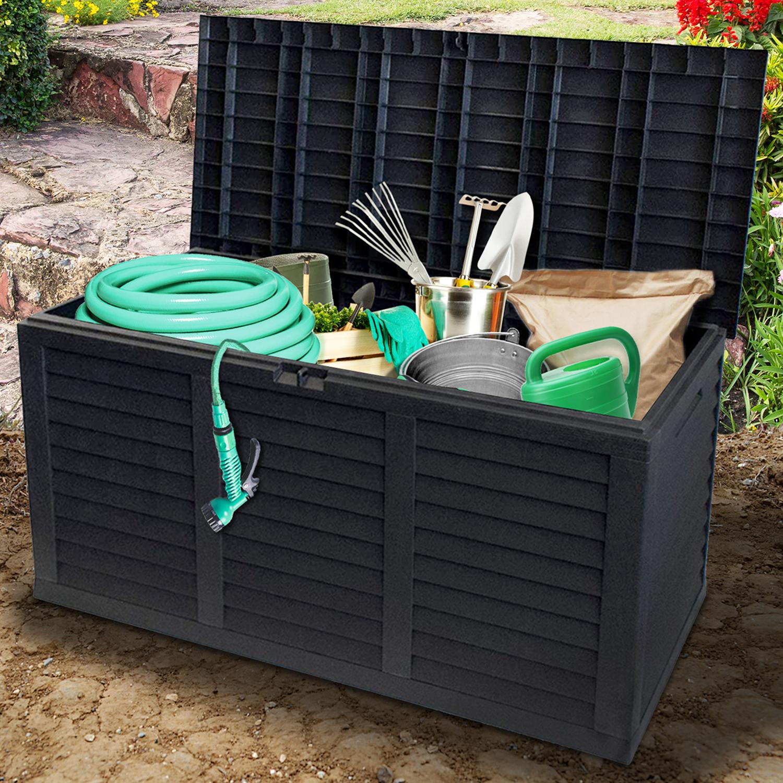 Guaranteed4Less 380L Plastic Wood Rattan Garden Storage Box Patio Tools Furniture Cushion Chest Grey