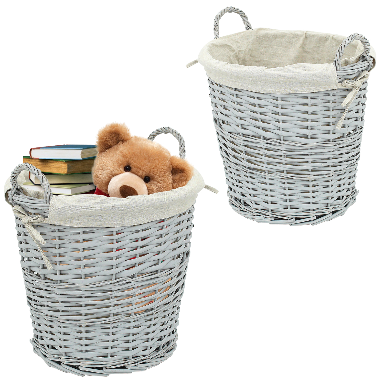 Grey Wicker Washing Laundry Basket Bin Bathroom Hamper Canvas Clothes Storage 5056331317671 Ebay