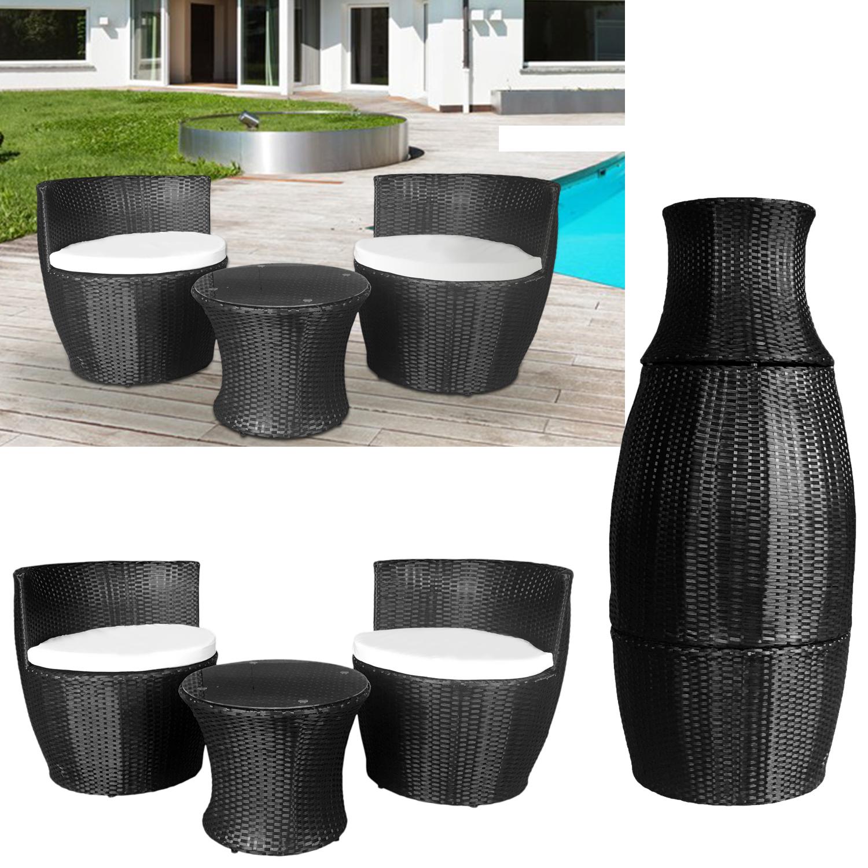 Rattan Garden Furniture Vase Set 3 Piece Two Seater Seat