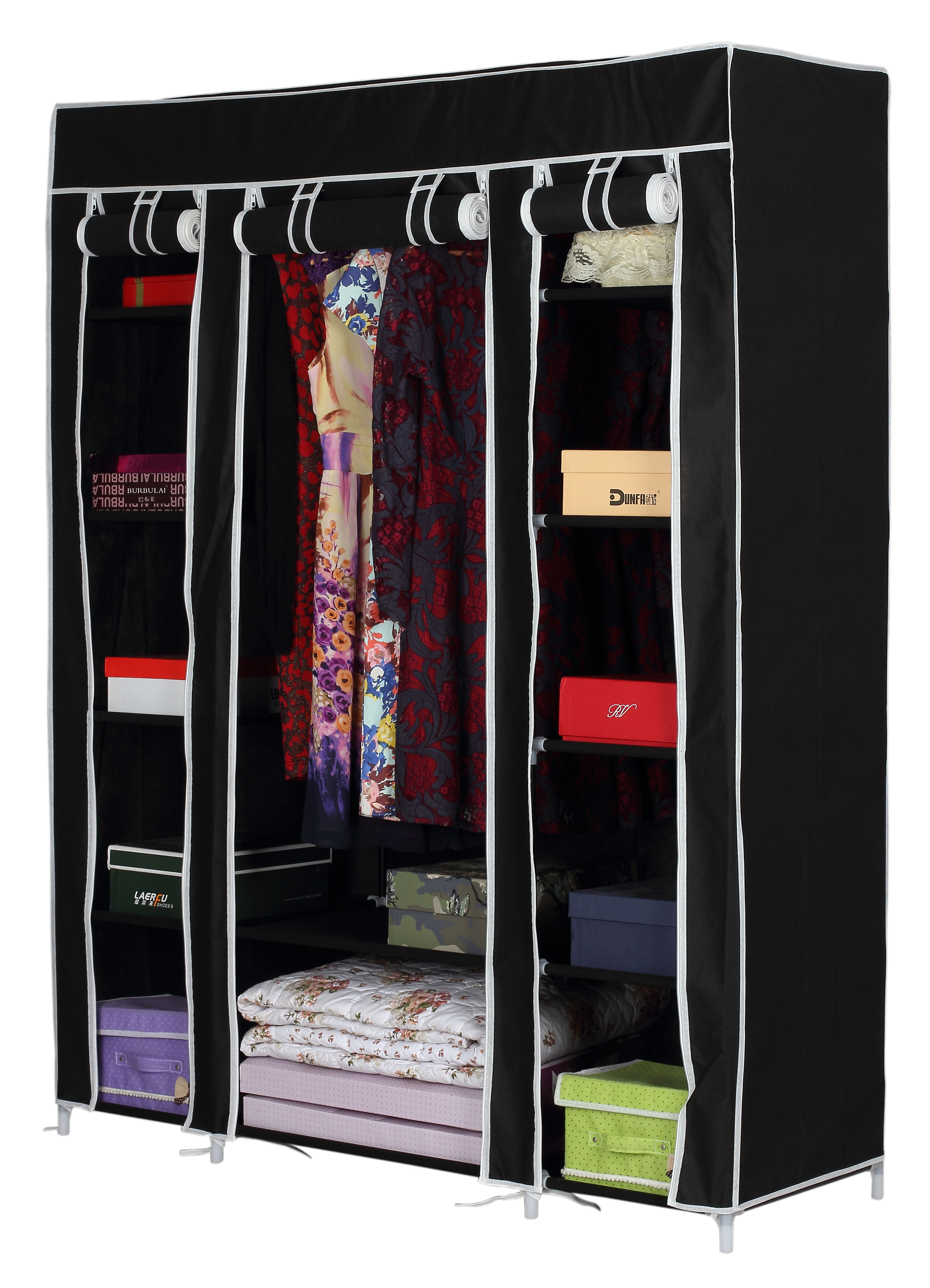 Canvas Storage Boxes For Wardrobes: Canvas Wardrobe Double Clothes Shoe Rack Bedding Towels