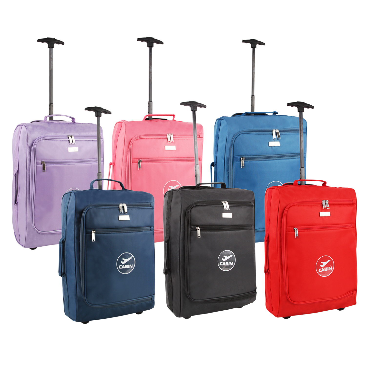 0644994eb Details about Lightweight Cabin Case Hand Luggage Travel Bag Wheels Handle  Airline Approved